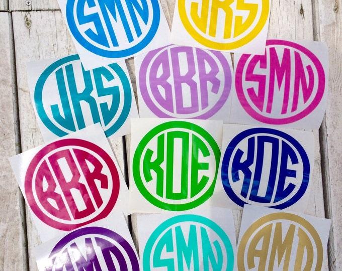 Circle Monogram Decal Small Monogram Decal Vinyl Decal Car Decal Notebook Binder Folder Decal School Teen Monogram Decal Personalized Decal