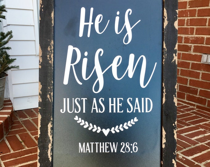 He is Risen Decal Easter Decal Vinyl Decal for Holiday Easter Resurrection Vinyl Decor Lettering for Easter Chalkboard Religious Seasonal