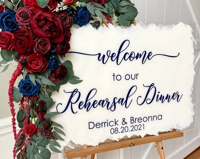 Rehearsal Dinner Decal for Sign Welcome to our Rehearsal Dinner Vinyl Decal for Mirror or Chalkboard Navy and Burgundy Wedding Sign Vinyl