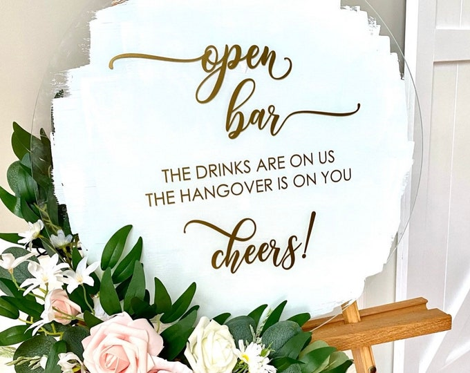 Open Bar Decal for Wedding The Drinks are on Us Wedding Decal for sign Making The Hangover is On You Funny Decal for Wedding Sign DIY