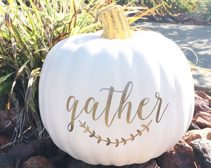 Gather Glitter Decal Pumpkin Decal Glitter Thanksgiving Decal Rustic Gather with Laurels Sticker Thanksgiving Decor Entryway Holiday Decor