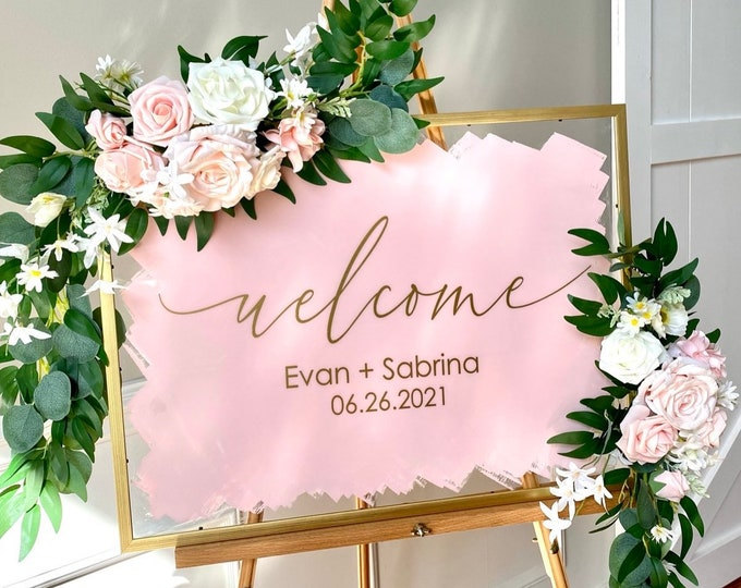 Welcome Decal for Wedding Sign Wedding Venue Entrance Sign Vinyl Deal for DIY Wedding Sign Modern Welcome with Names for Mirror or Acrylic