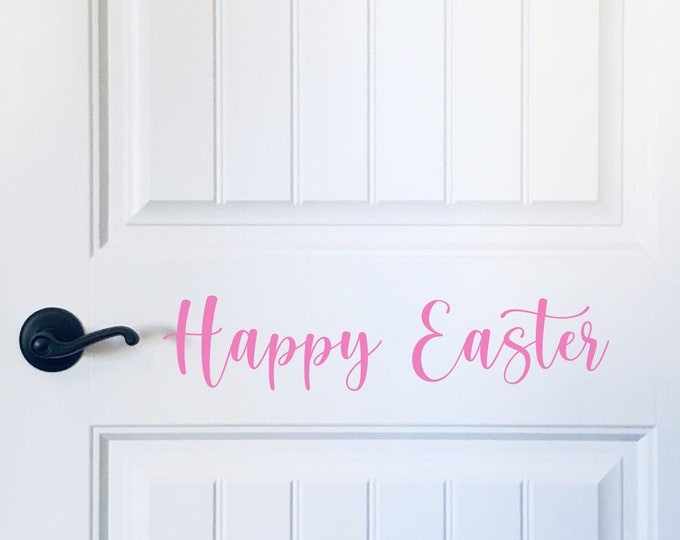 Happy Easter Decal for Door Vinyl Wall Decal Easter Holiday Decor for Home or Crafting Happy Easter Sign Vinyl Seasonal Decor