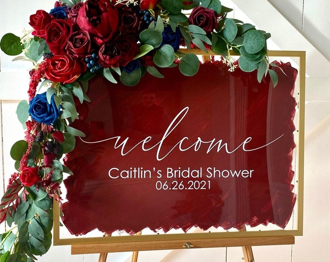 Welcome Bridal Shower Decal for Sign Bridal Shower Welcome Fall Wedding Sign Decal Modern Decal for Mirror  Plexiglass Sign Burgundy Navy