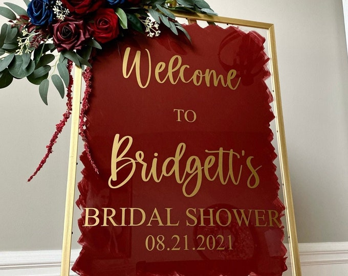 Bridal Shower Vinyl Decal for Sign Bridal Shower Sign DIY Decal for Modern Shower Welcome Sign Burgundy and Navy Bridal Shower Decor