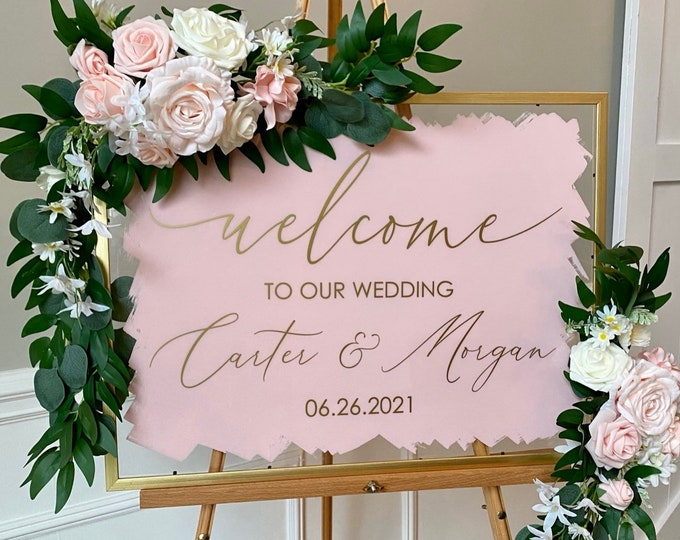 Wedding Decal for Sign Making Vinyl Decal for Wedding Mirror Modern Welcome Sign for Wedding Entrance Vinyl Wedding Decor Pink and Gold