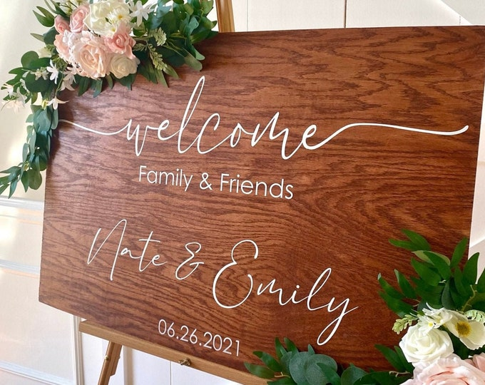 Wedding Welcome Decal Vinyl Wedding Decal for Sign Making Welcome Family and Friends Wedding Sign DIY Vinyl Decal Wedding Decor Rustic