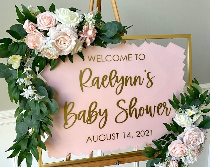 Baby Shower Decal for Sign Making Vinyl Decal for Baby Shower Pink and Gold Baby Shower Decor Personalized Vinyl Decal for Shower Sign