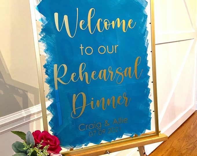 Rehearsal Dinner Decal for Sign Welcome to our Rehearsal with names and date Vinyl Decal for Entrance Tropical Themed Wedding Diy Vinyl