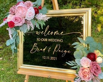 Welcome to our Wedding Decal for Mirror Gold Blush Burgundy Wedding Vinyl Decal for Acrylic Sign or Chalkboard Wedding Decor Entrance Decal