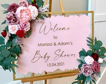 Baby Shower Decal for Sign Making Couples Baby Shower Vinyl Decal for Plexiglass or Mirror Baby Shower Decor Gold and Pink Baby Shower