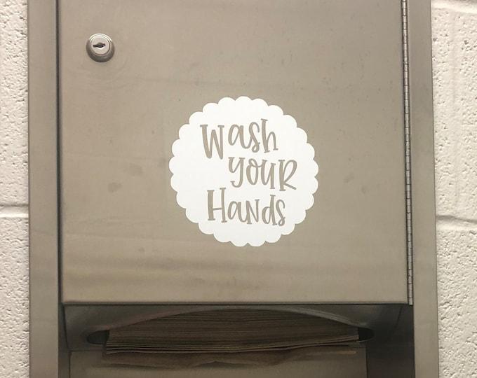 Wash Your Hands Decal for School Restroom Fun Vinyl for Teacher Classroom School Bathroom Mirror Wash Your Hands Decal