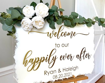 Happily Ever After Decal for Wedding Sign Vinyl Decal Welcome to our Happily Ever After with Names and Date Wedding Decor Sign Vinyl