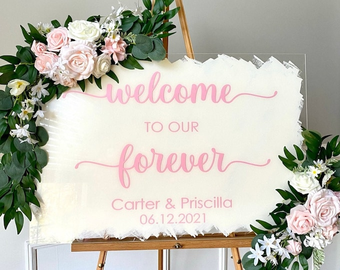 Welcome to our Forever Decal for Wedding sign Wedding Welcome Vinyl Decal Pink and Cream Wedding Vinyl Decals Wedding Decor