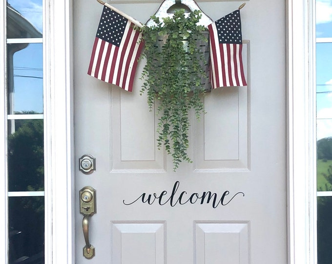 Welcome Decal for Front Door Vinyl Decal for Door Greeting Welcome Sticker Vinyl Decal for Home Decor Curb Appeal Welcome Door
