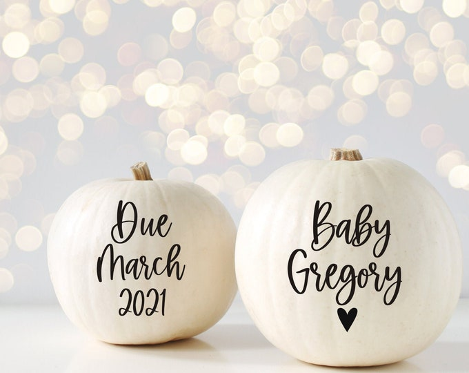 Pregnancy Announcement Decals for Pumpkins Baby Due Date Pumpkin Decals Vinyl Decals Announcing Maternity Photo Shoot Props