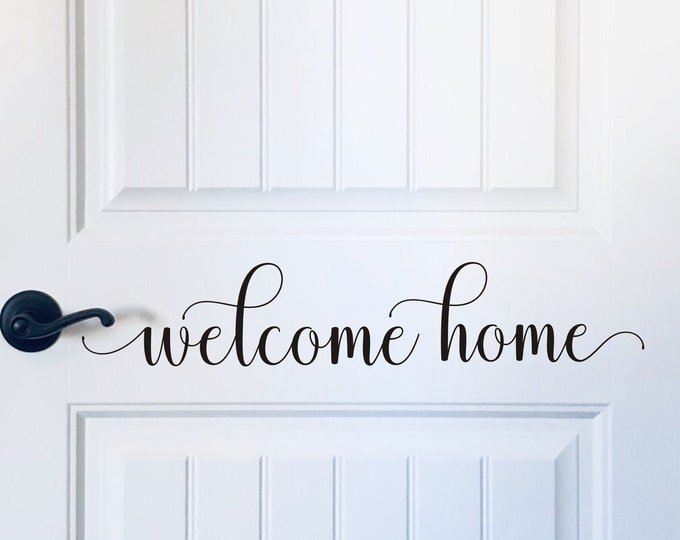 Welcome Home Decal Vinyl Decal for Door Welcome Home Vinyl Sticker Door Decal for Curb Appeal