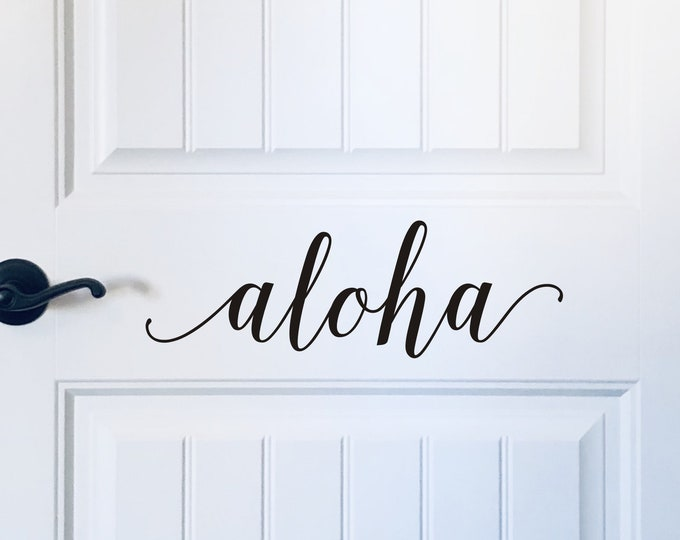 Aloha Door Decal Vinyl Decal for Hawaiian Front Door Decor Porch Decal Aloha Greeting Decal for Front Door Home Decor
