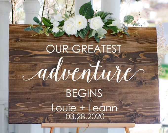 Our Greatest Adventure Begins Wedding Decal for Sign Making Vinyl Decal for Wedding Mirror or Chalkboard Adventure Themed Wedding Decor