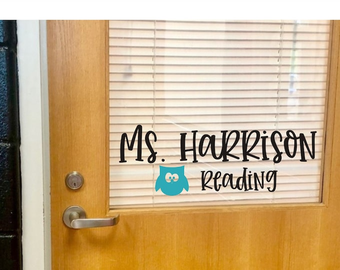 Teacher Name with Owl Decal for Classroom Door Wall or Desk Teacher Name Desk Vinyl Reading Teacher with Owl Classroom Decor