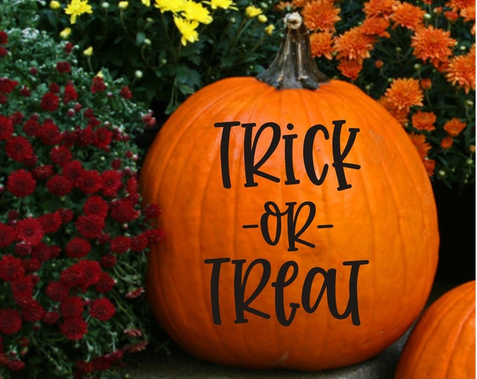 Trick or Treat Pumpkin Decal Fall Front Porch Decor Vinyl Decal for Halloween Pumpkin Trick or Treat Small Vinyl Decal