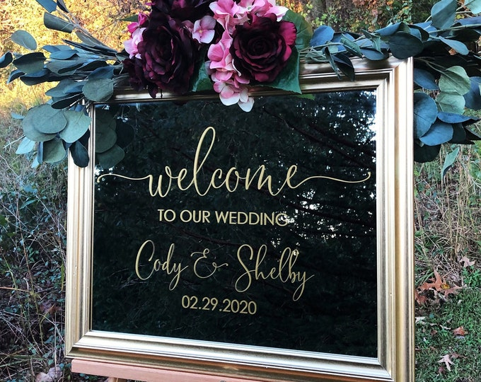 Welcome to our Wedding Decal Vinyl Decal for Wedding Sign Modern Wedding Decor DIY Vinyl Names and Date Fall Winter Wedding
