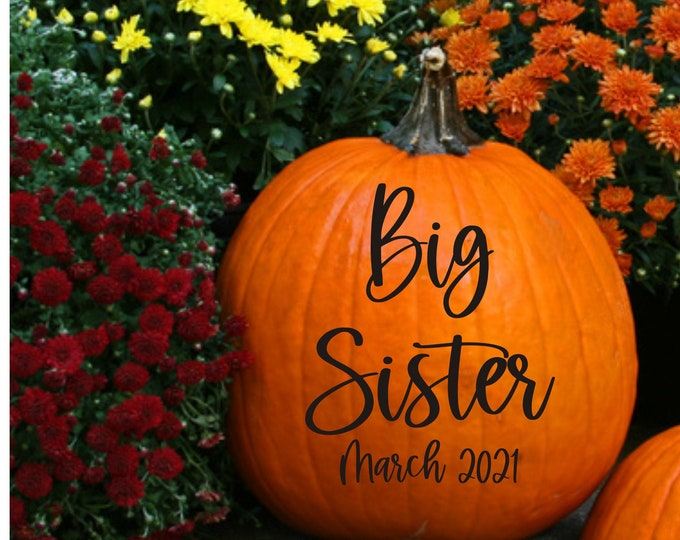 Big Sister Pumpkin Decal for Pregnancy Announcement Photo Shoot Big Sister Vinyl Decal Fall Pumpkin Decal New Baby Maternity Photos