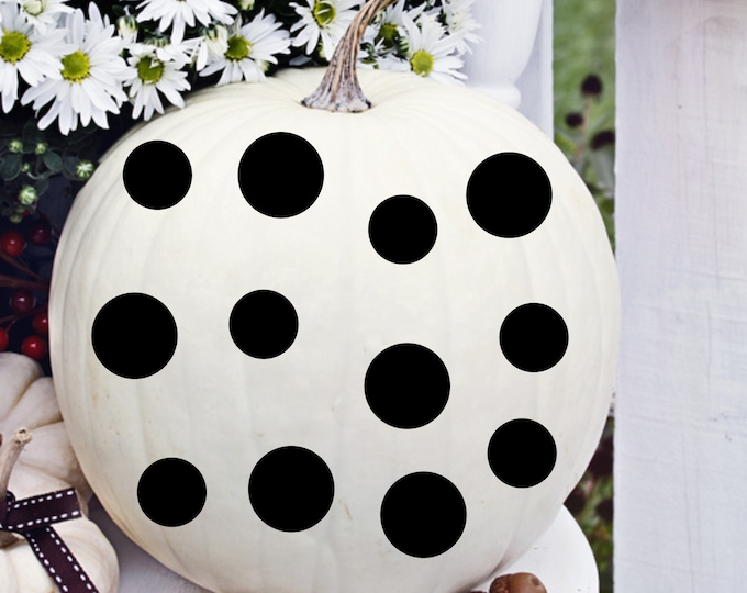 Polka Dot Decals Sheet of 12 Small Polka Dot Decals for Pumpkins Craft Making Halloween Decor for Pumpkin Small Sheet of Dots Holiday Decor