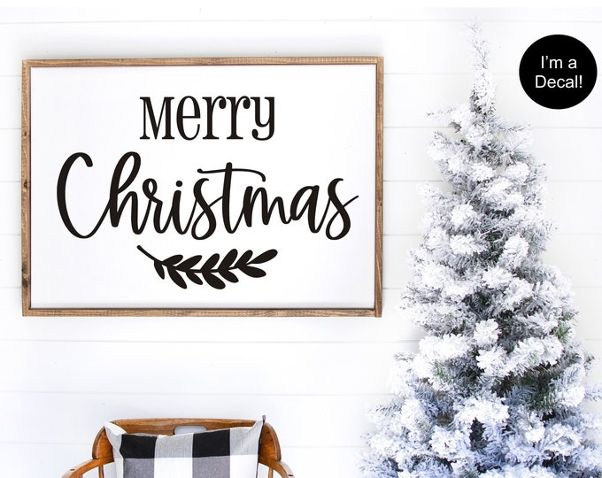Merry Christmas Decal for Sign Making Christmas Wall Decal Vinyl Decal for Holiday Decor Rustic Farmhouse Christmas Sign Decal with Laurel