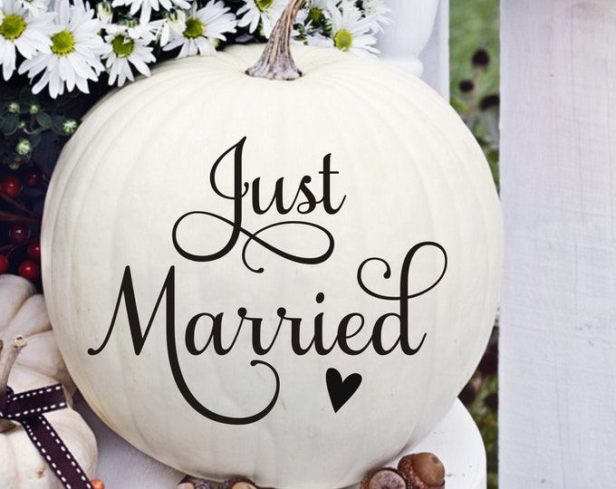Just Married Decal for Pumpkin Fall Wedding Decor Vinyl Decal for Pumpkins for Fall Wedding Photo Prop for Picture Taking or other DIY