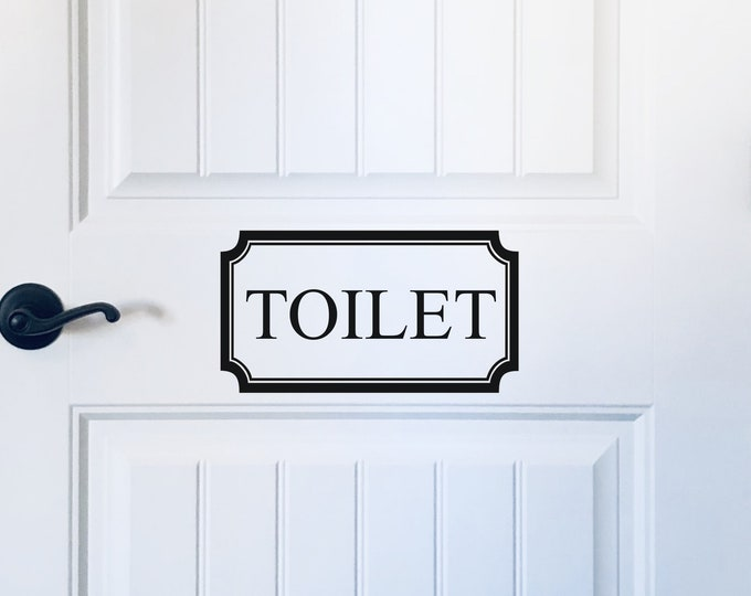 Toilet Door Decal Vinyl Decal for Bathroom Door Toilet Decal in Frame Toilet Vinyl for Farmhouse Glass Door