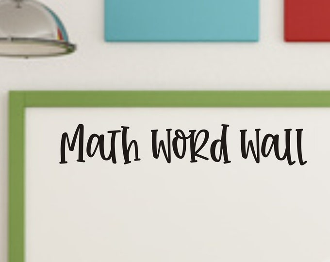 Math Word Wall Decal for Classroom Math Teacher Decal for Wall Chalkboard or Whiteboard Back to School Classroom Decor Math Vinyl