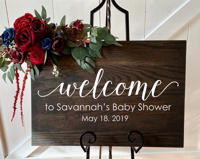 Baby Shower Decal Welcome Baby Decor Vinyl Decal for Baby Shower Elegant Personalized Sign for Baby Shower Rustic Sign Minimalist Decor