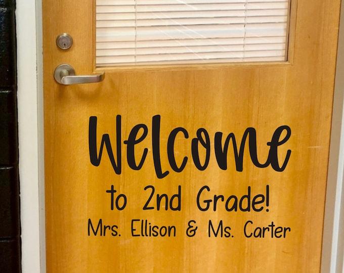 Teacher Name Door Decal Welcome to 2nd Grade Team Teacher Decal for Door Wall Whiteboard Welcome with Names for School Door Teaching Partner