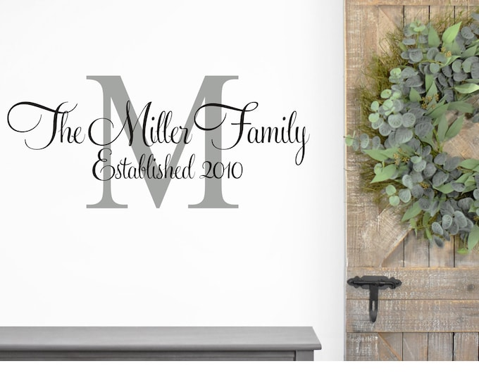 Family Wall Decal Family Name and Date Vinyl Wall Decal Monogram for Living Room Farmhouse Wall Decal
