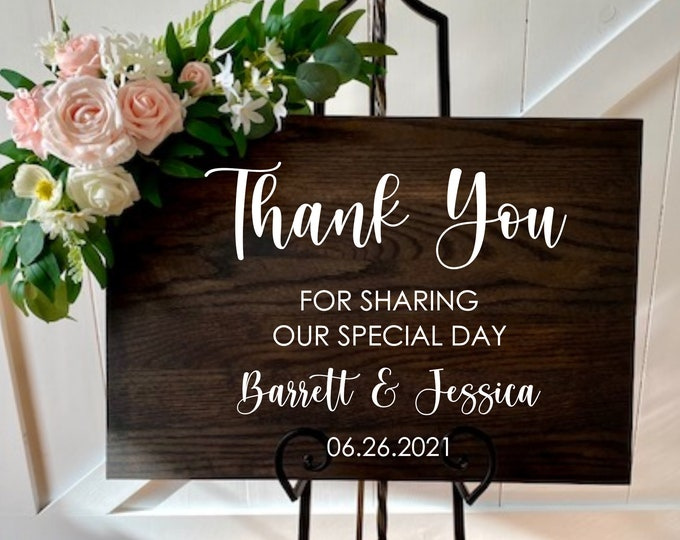 Thank You Wedding Decal for Sign Making Vinyl Decal Wedding Decor Thank You For Sharing Our Special Day Wedding Entrance Decal