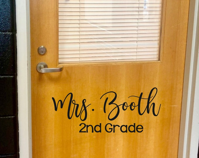 Teacher Name Decal Christmas Gift for Teacher Vinyl Decal for Classroom School Elementary Teacher Name and Grade Sticker for Door Desk