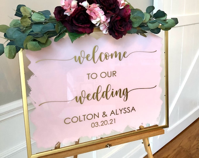 Welcome to our Wedding Decal for Sign Making Wedding Vinyl Decal for Mirror Acrylic or Chalkboard Modern Wedding Decor Personalized Decal
