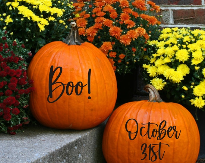 October 31st Pumpkin Decal Boo Vinyl Decal for Pumpkin Halloween Decals Halloween Decor Porch Curb Appeal Holiday Decor