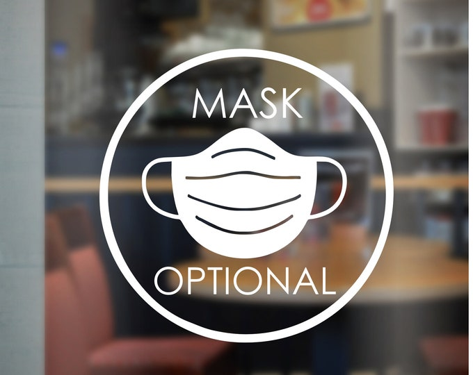 Mask Optional Decal for Store Window Business Mask Decal for Window or Door Mask Optional Vinyl Quick Ship Mask Decals