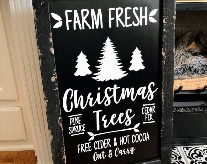 Farm Fresh Christmas Trees Decal for Chalkboard Christmas Vinyl for Sign Making DIY Christmas Tree Sign Rustic Farmhouse Decal Holiday Decor