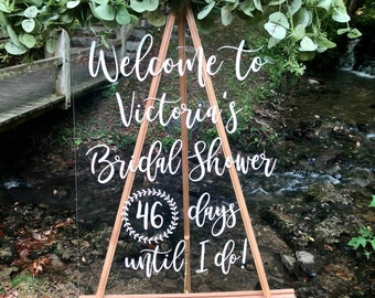 Welcome Bridal Shower Decal Personalized Shower Vinyl Decal Handwritten Style Modern Font Bridal Shower Decor DIY Decal for Chalkboard Sign
