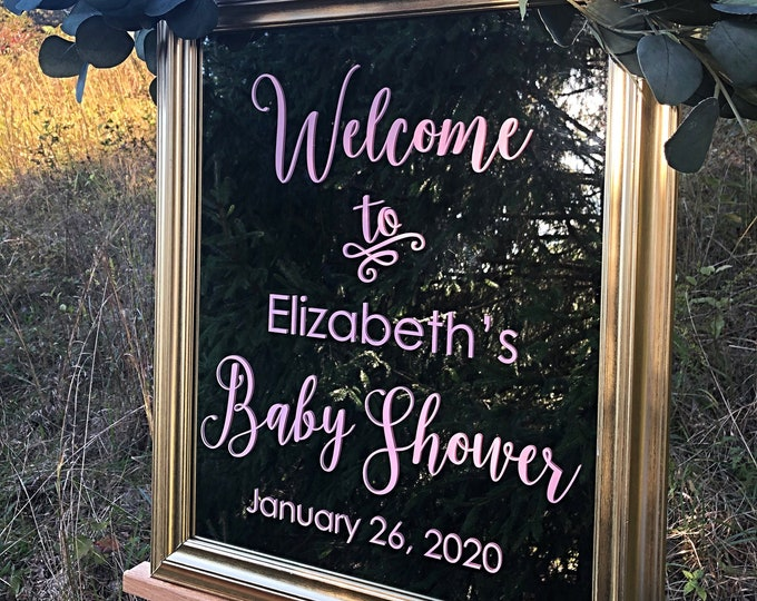 Baby Shower Decal Welcome Sign for Baby Shower Decal for Mirror or Chalkboard Baby Shower Decor Personalized Welcome Vinyl DIY