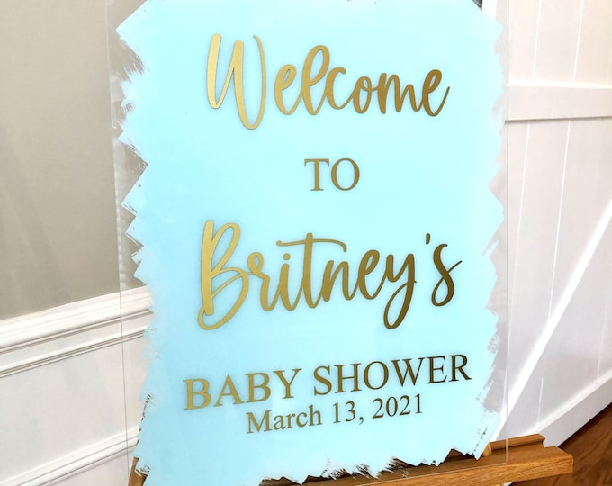 Baby Shower Welcome Decal for Sign Making Vinyl Decal for Baby Shower Decor Welcome Sign Baby Shower Blue and Gold Decor