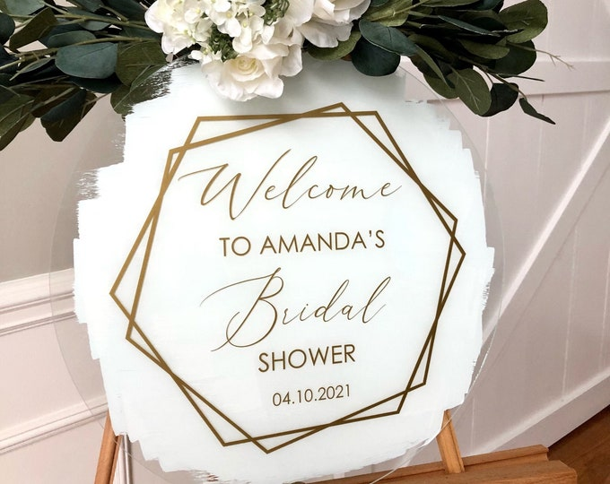 Modern Bridal Shower Decal for Sign Making Hexagon Vinyl Decal for Bridal Shower Welcome Personalized Gold Bridal Shower Decor