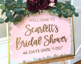 Bridal Shower Vinyl Decal for Sign Making Welcome to Bridal Shower Entrance Sign Decal for Shower Mirror Pink and Gold Bridal Shower Decor