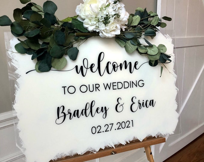 Wedding Welcome Vinyl Decal for Mirror or Plexiglass Wedding Chalkboard Decal Wedding Sign Vinyl Welcome to our Wedding