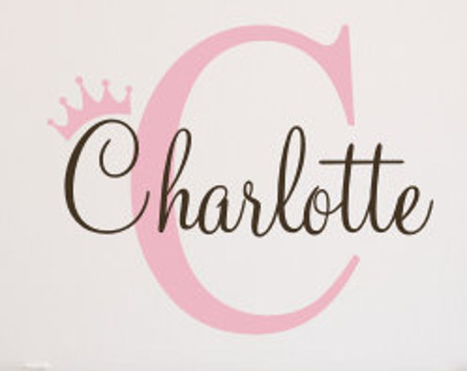 Girls Name Decal Wall Decal Vinyl Decal Name with Crown Decal Princess Crown Decal Girls Nursery Princess Wall Monogram Girls Bedroom Decal