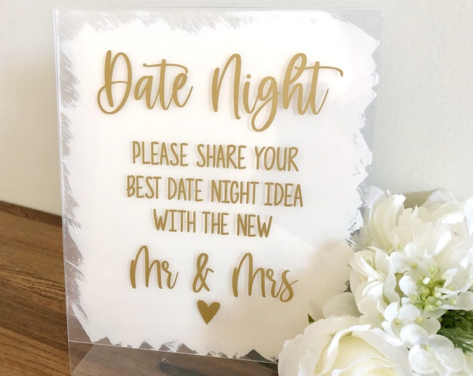 Date Night Ideas Vinyl Decal for Sign Making Wedding Sign Vinyl Decal for DIY Wedding Table Signage Date Night Ideas for Mr and Mrs