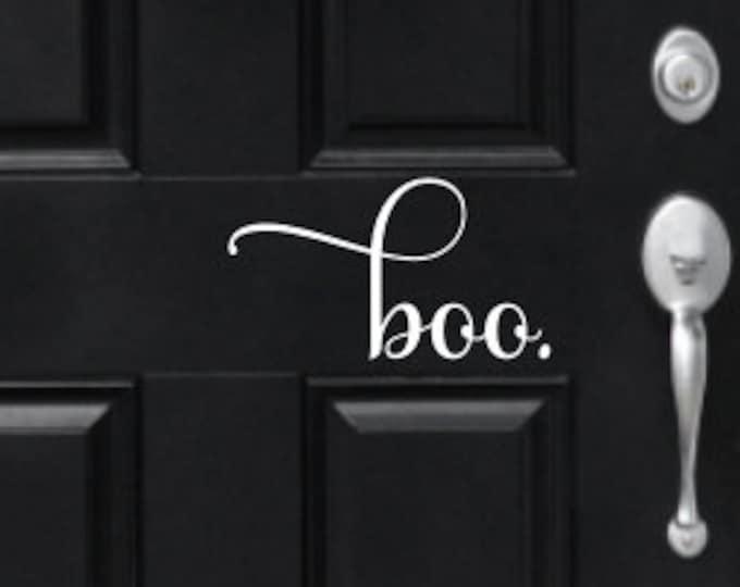 Boo Door Decal Halloween Vinyl Decal Holiday Decor Home Decor Porch Decor Curb Appeal Halloween Decor Vinyl Decal Greeting Boo Vinyl Decal